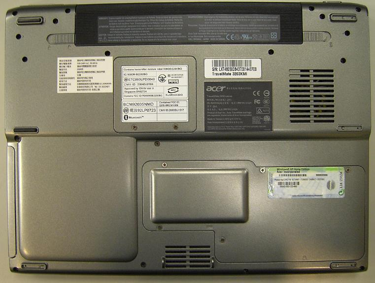 Picture of Recalled Notebook Computer (bottom)